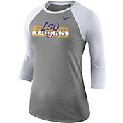 Nike Women's LSU Tigers Grey Dri-FIT ¾ Sleeve T-Shirt