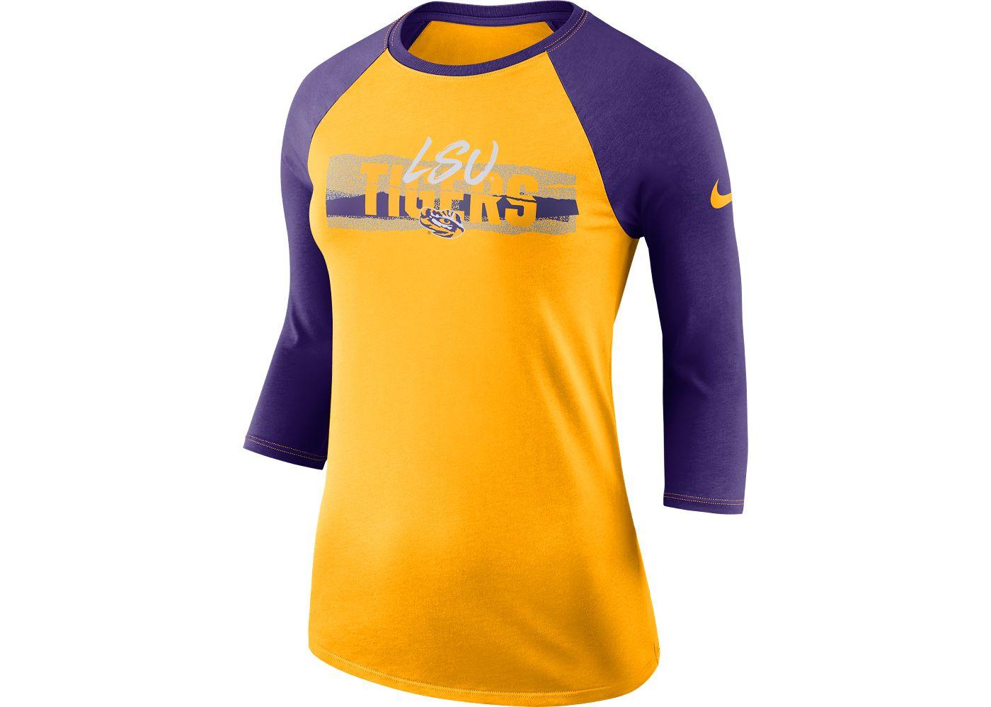 Nike Women's LSU Tigers Gold Dri-FIT ¾ Sleeve T-Shirt