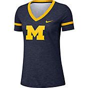 Nike Women's Michigan Wolverines Blue Slub V-Neck T-Shirt
