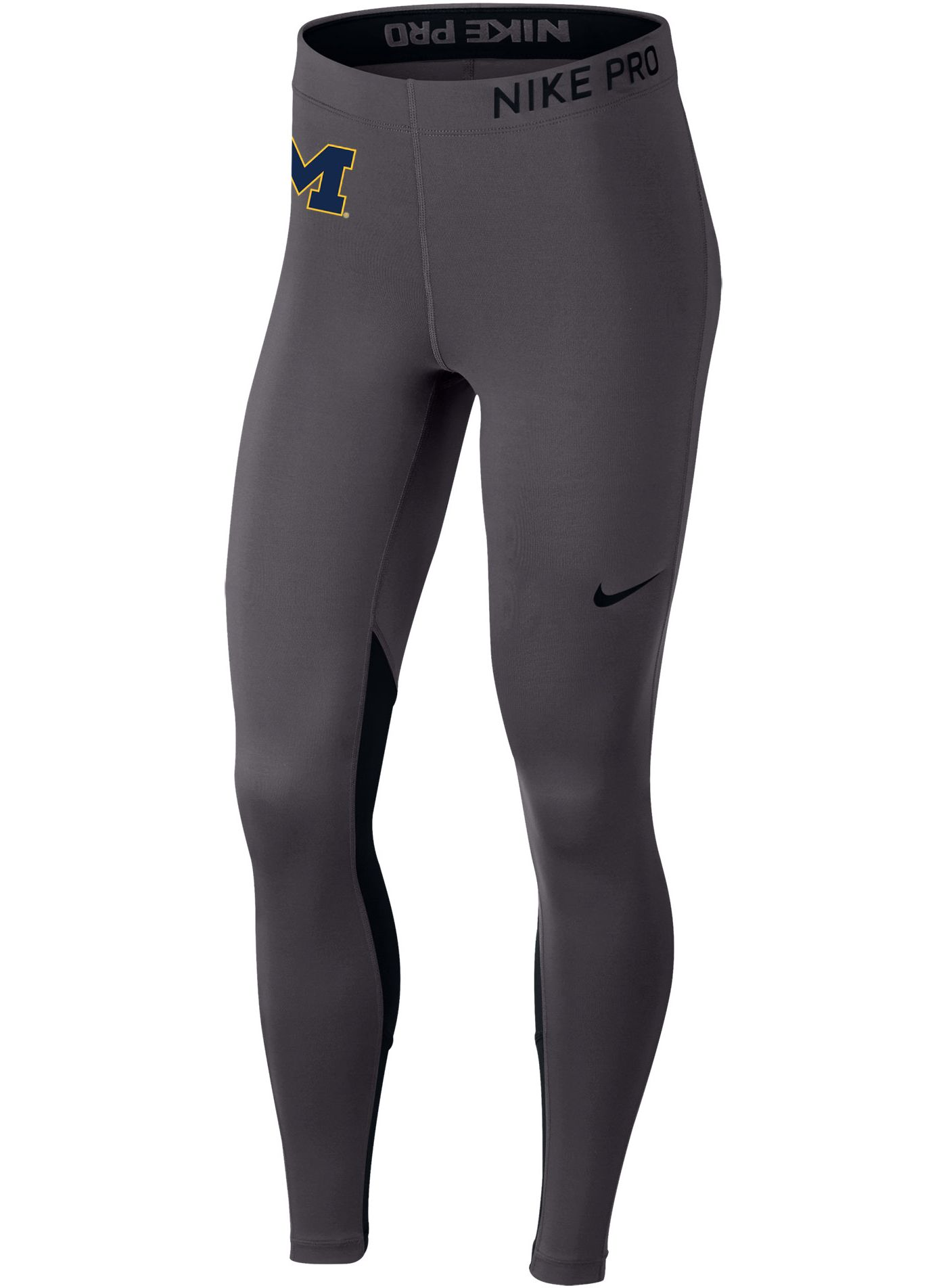 Nike Women's Michigan Wolverines Grey Dri-FIT Pro Cool Training Leggings