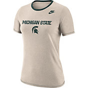 Nike Women's Michigan State Spartans Oatmeal Dry Crew Neck T-Shirt