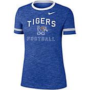 Nike Women's Memphis Tigers Blue Slub Fan Ringer Football T-Shirt