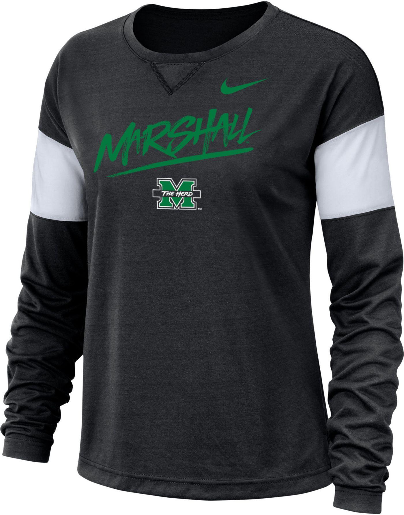 Nike Women's Marshall Thundering Herd Dri-FIT Breathe Long Sleeve Black T-Shirt