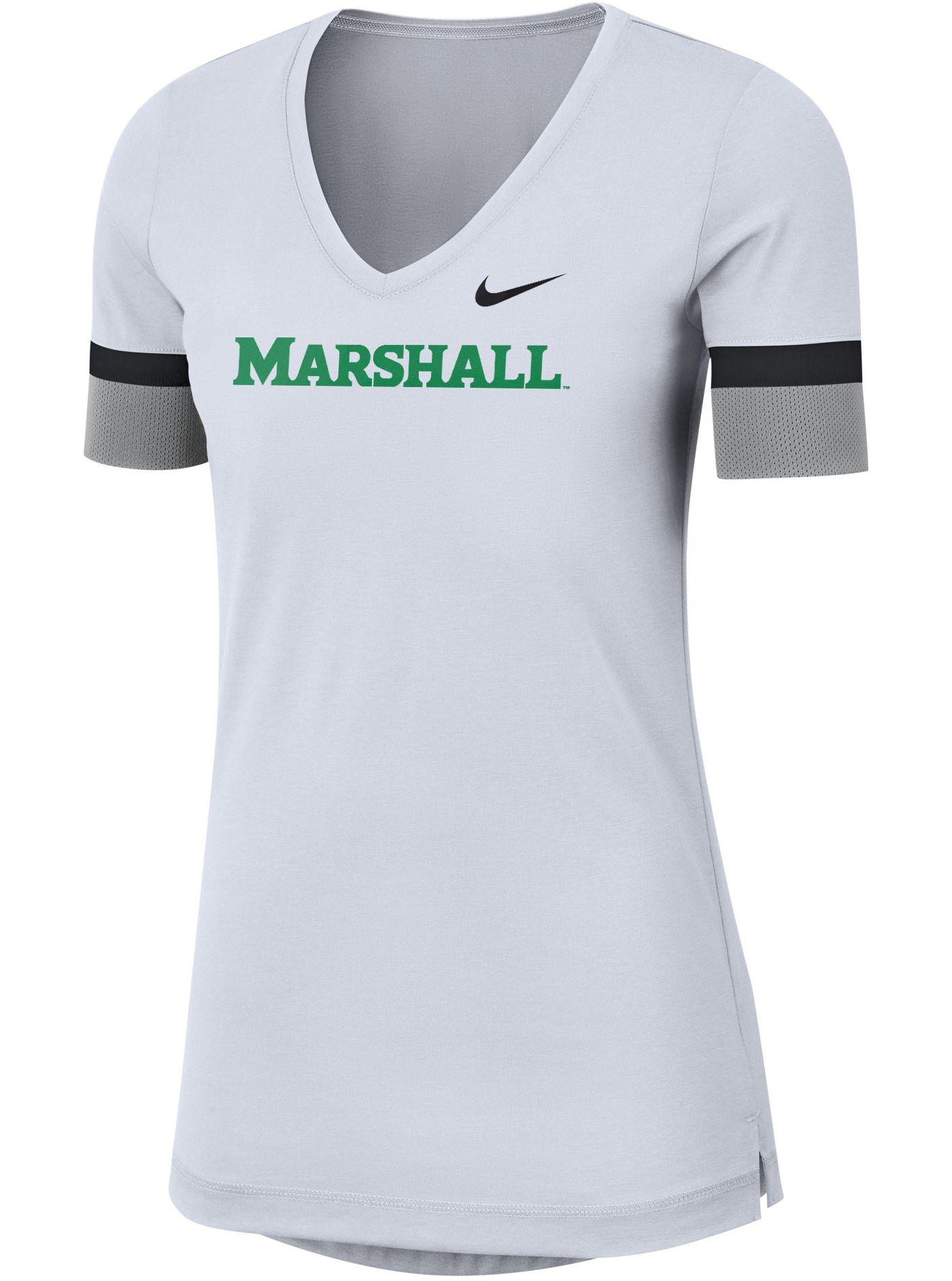 Nike Women's Marshall Thundering Herd Dri-FIT Fan V-Neck White T-Shirt