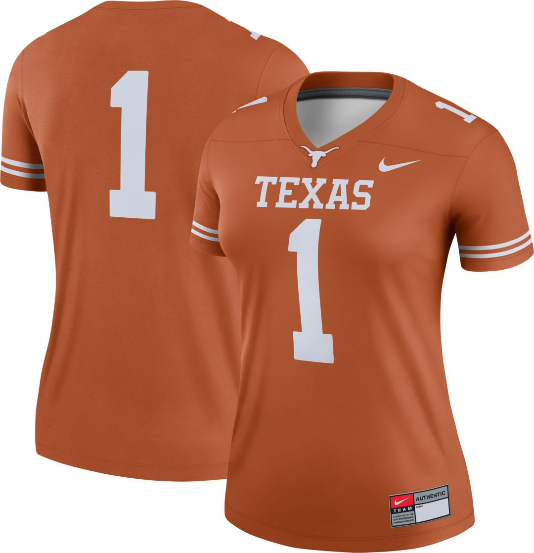 low priced d6315 f3983 Nike Women's Texas Longhorns #1 Burnt Orange Dri-FIT Legend Football Jersey