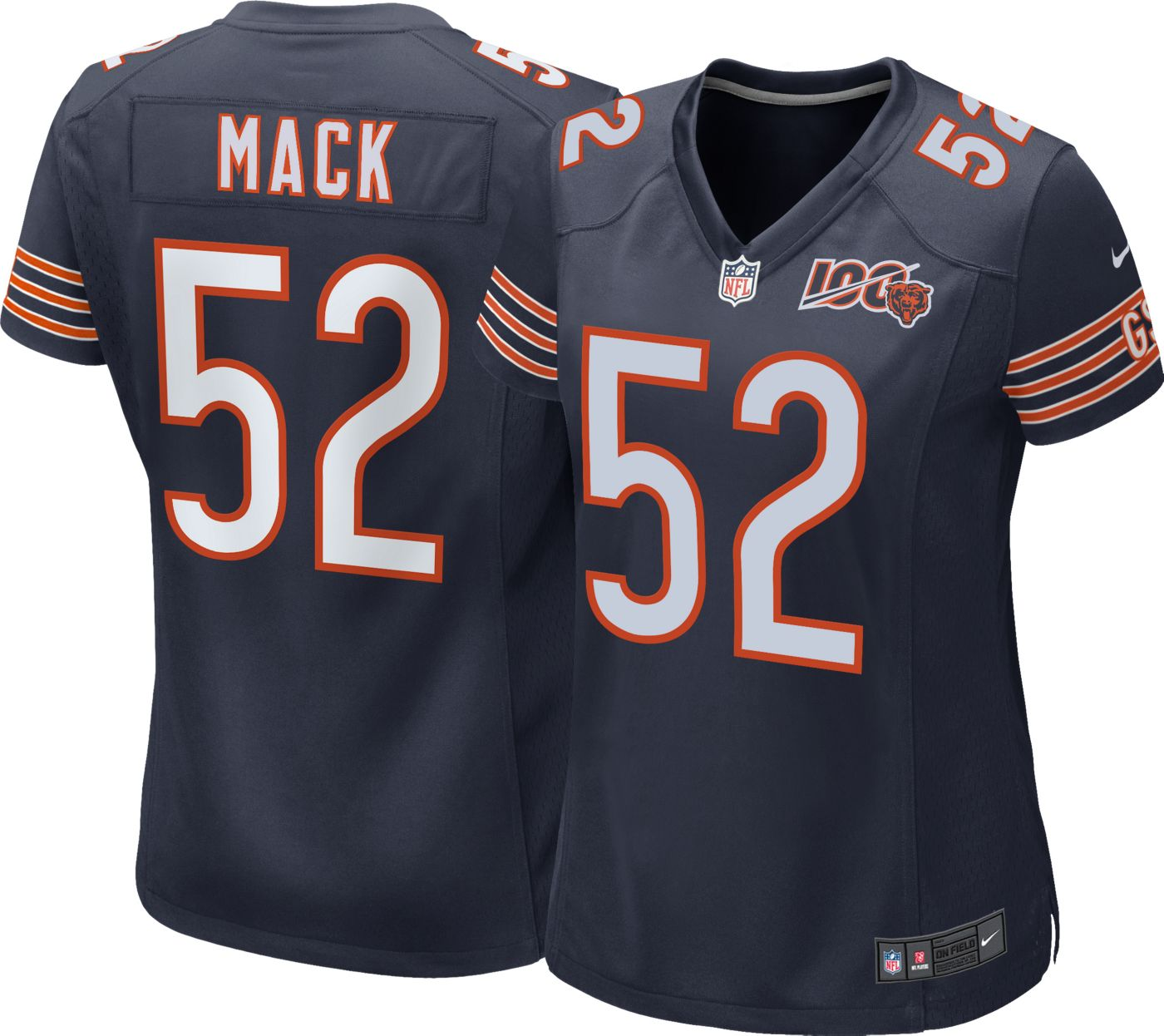 Nike Women's 100th Home Game Jersey Chicago Bears Khalil Mack #52
