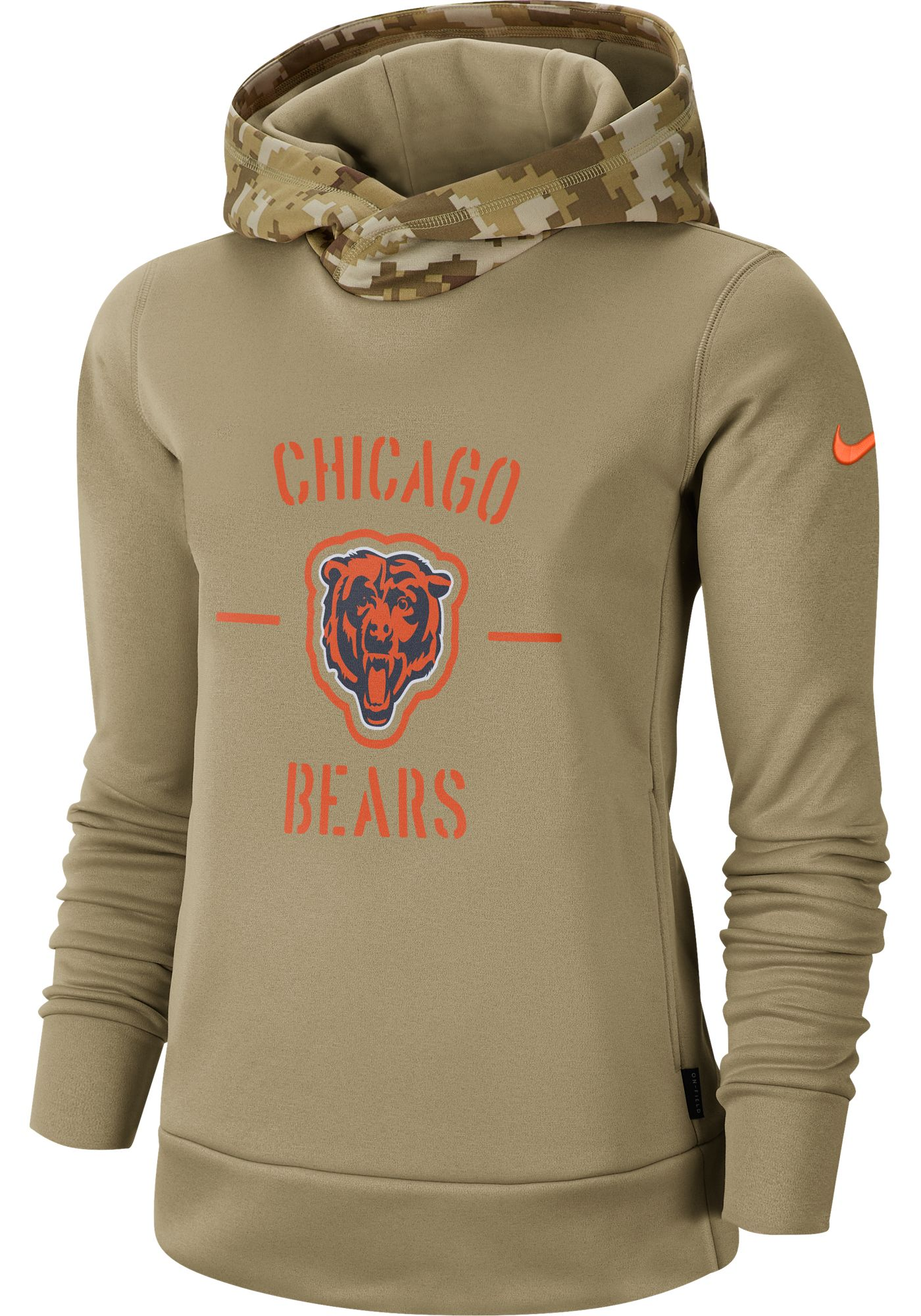 Nike Women's Salute to Service Chicago Bears Therma-FIT Beige Camo Hoodie
