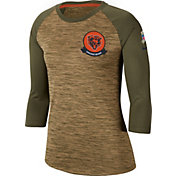 Nike Women's Salute to Service Chicago Bears Dri-FIT Beige Raglan Shirt