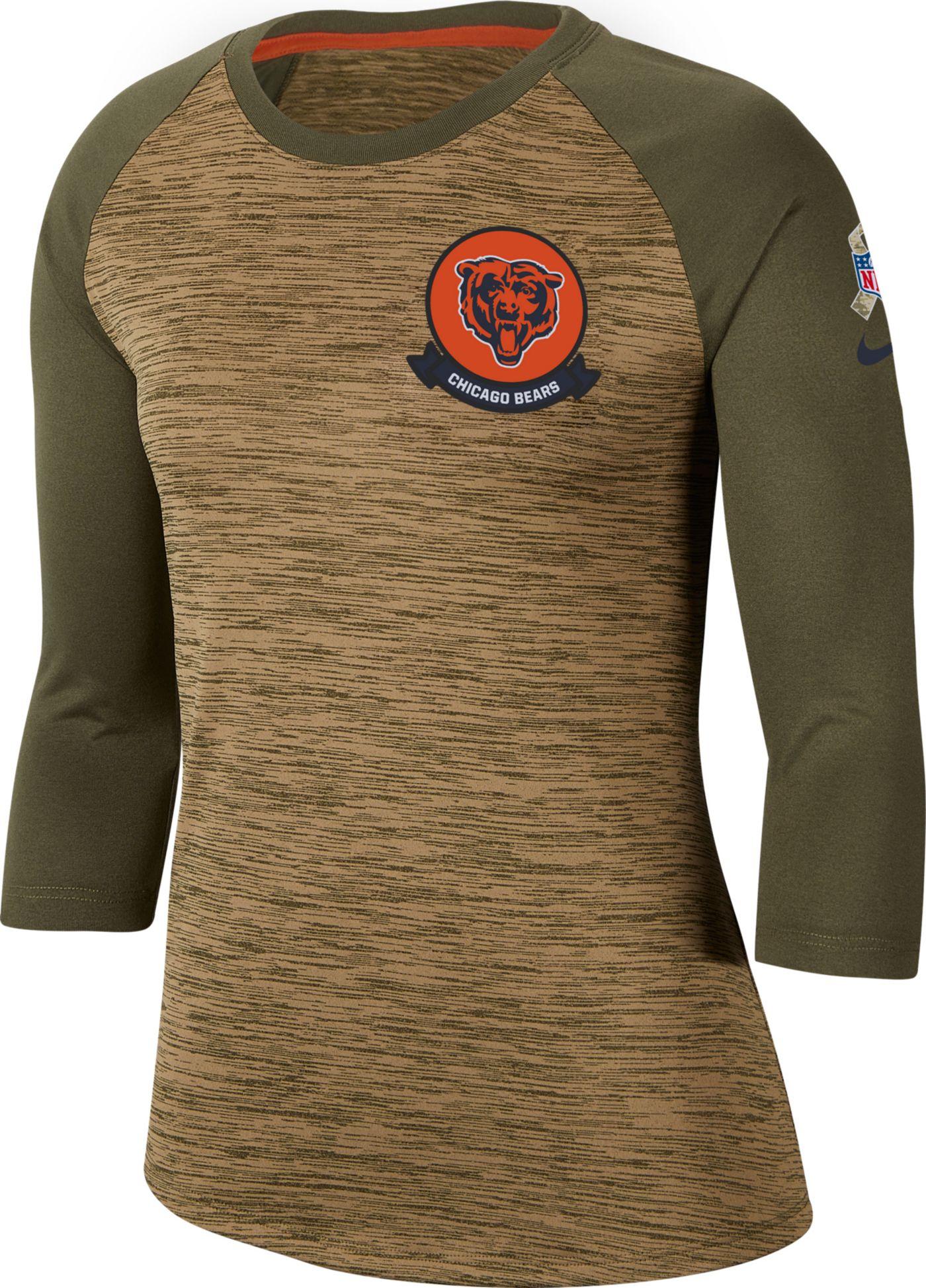 Nike Women's Salute to Service Chicago Bears Dri-FIT Beige Raglan Shirt