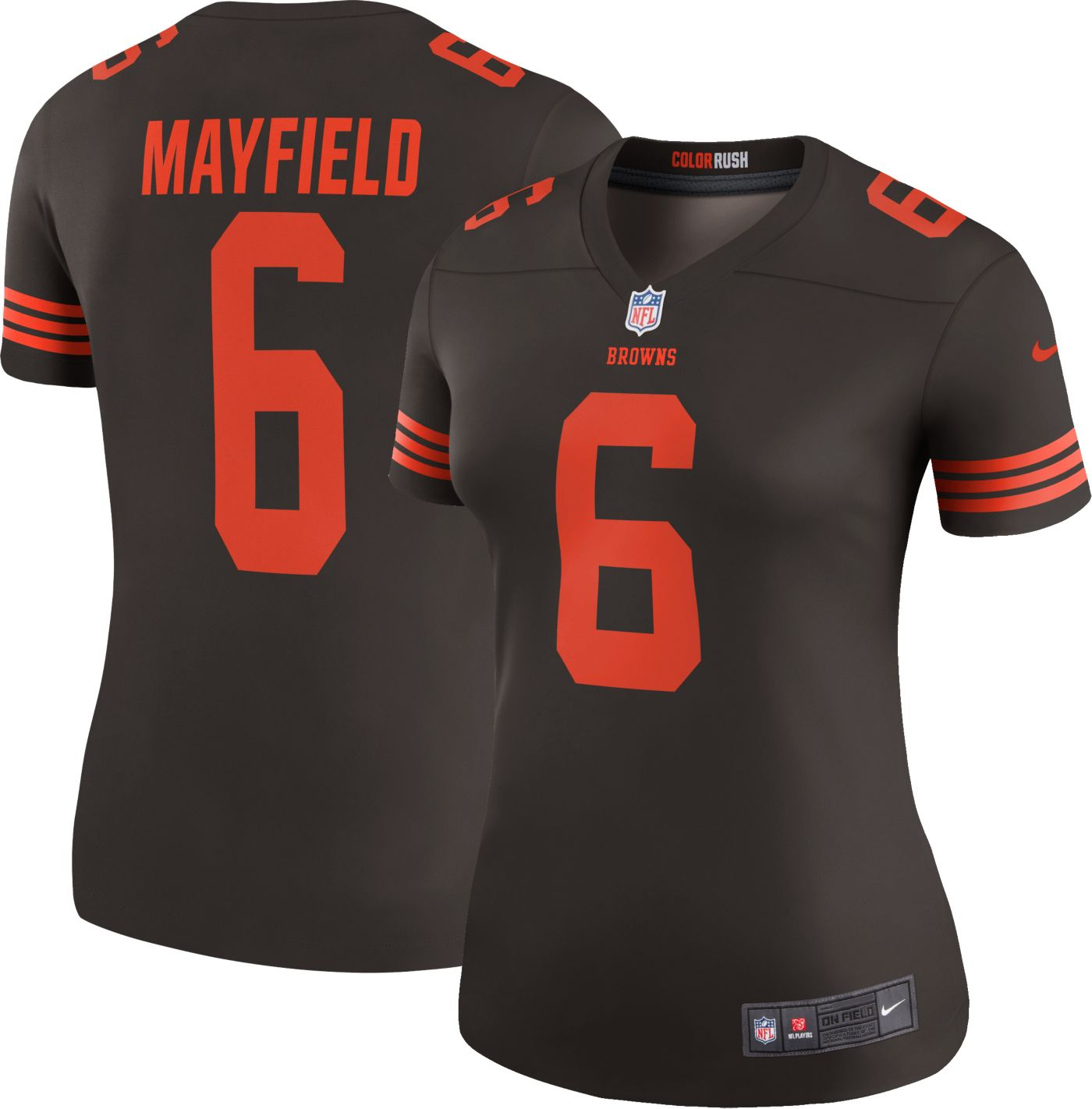 Nike Women's Color Rush Legend Brown Jersey Cleveland Browns Baker Mayfield #6