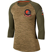 Nike Women's Salute to Service Cleveland Browns Dri-FIT Beige Raglan Shirt