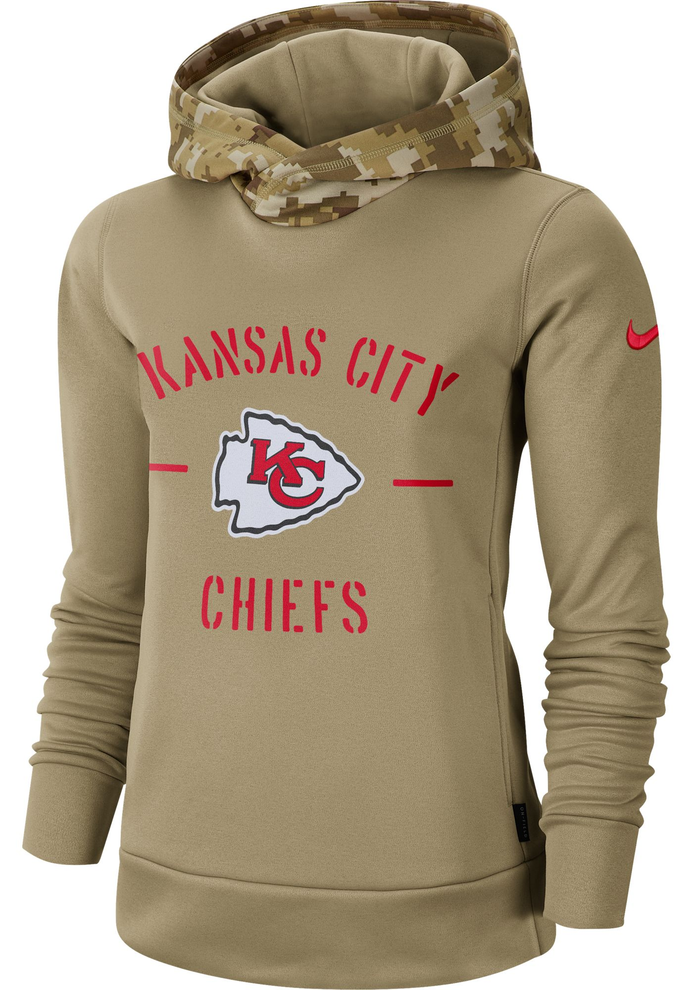 Nike Women's Salute to Service Kansas City Chiefs Therma-FIT Beige Camo Hoodie