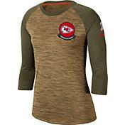 Nike Women's Salute to Service Kansas City Chiefs Dri-FIT Beige Raglan Shirt