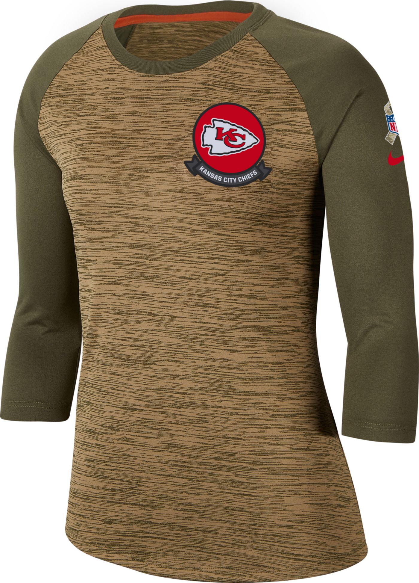Nike Women's Salute to Service Kansas City Chiefs Dri-FIT Beige Raglan Shirt