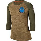 Nike Women's Salute to Service Los Angeles Chargers Dri-FIT Beige Raglan Shirt