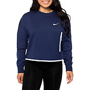 Nike Women's Dallas Cowboys Fuse Crop Navy Crew Sweatshirt