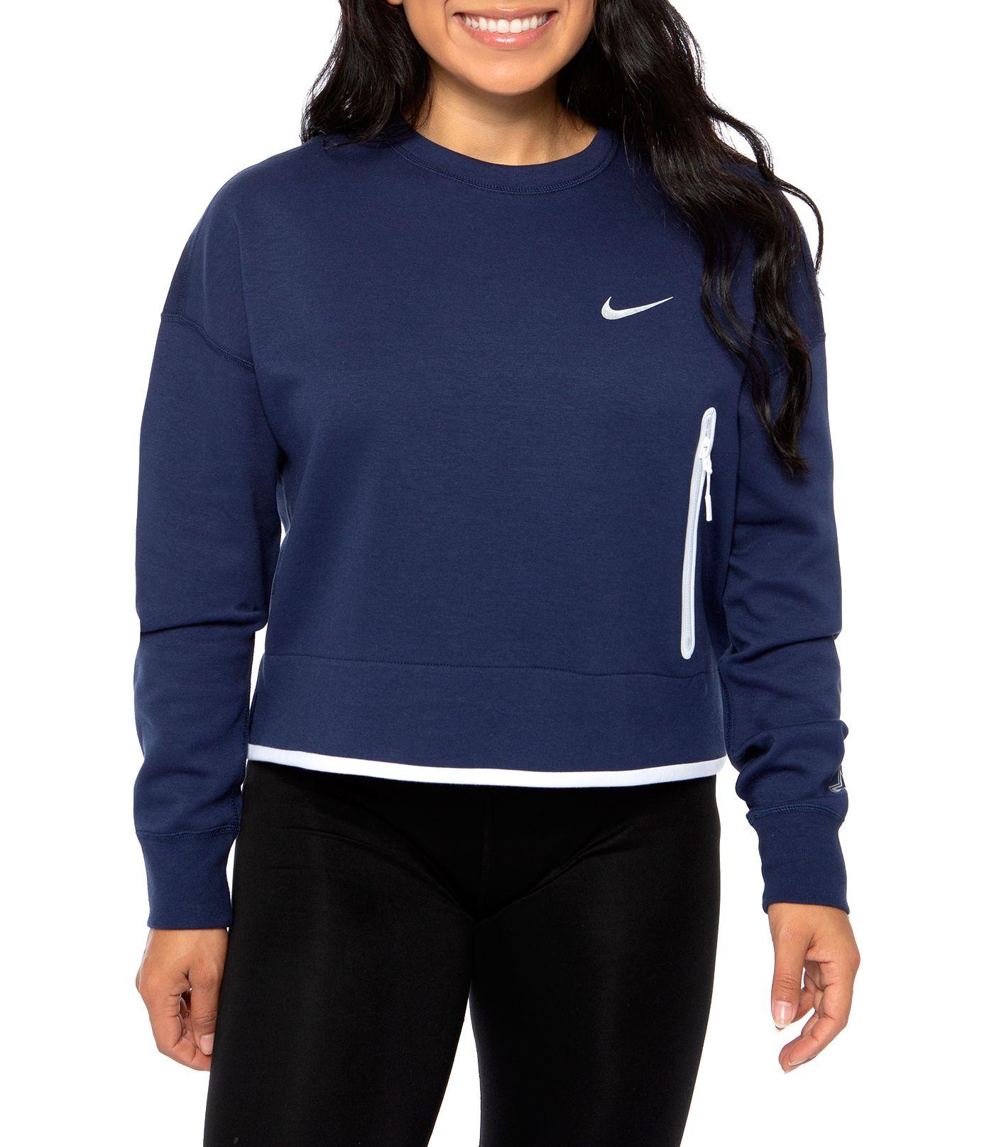 Nike Women's Dallas Cowboys Fuse Crop Navy Crew Sweatshirt