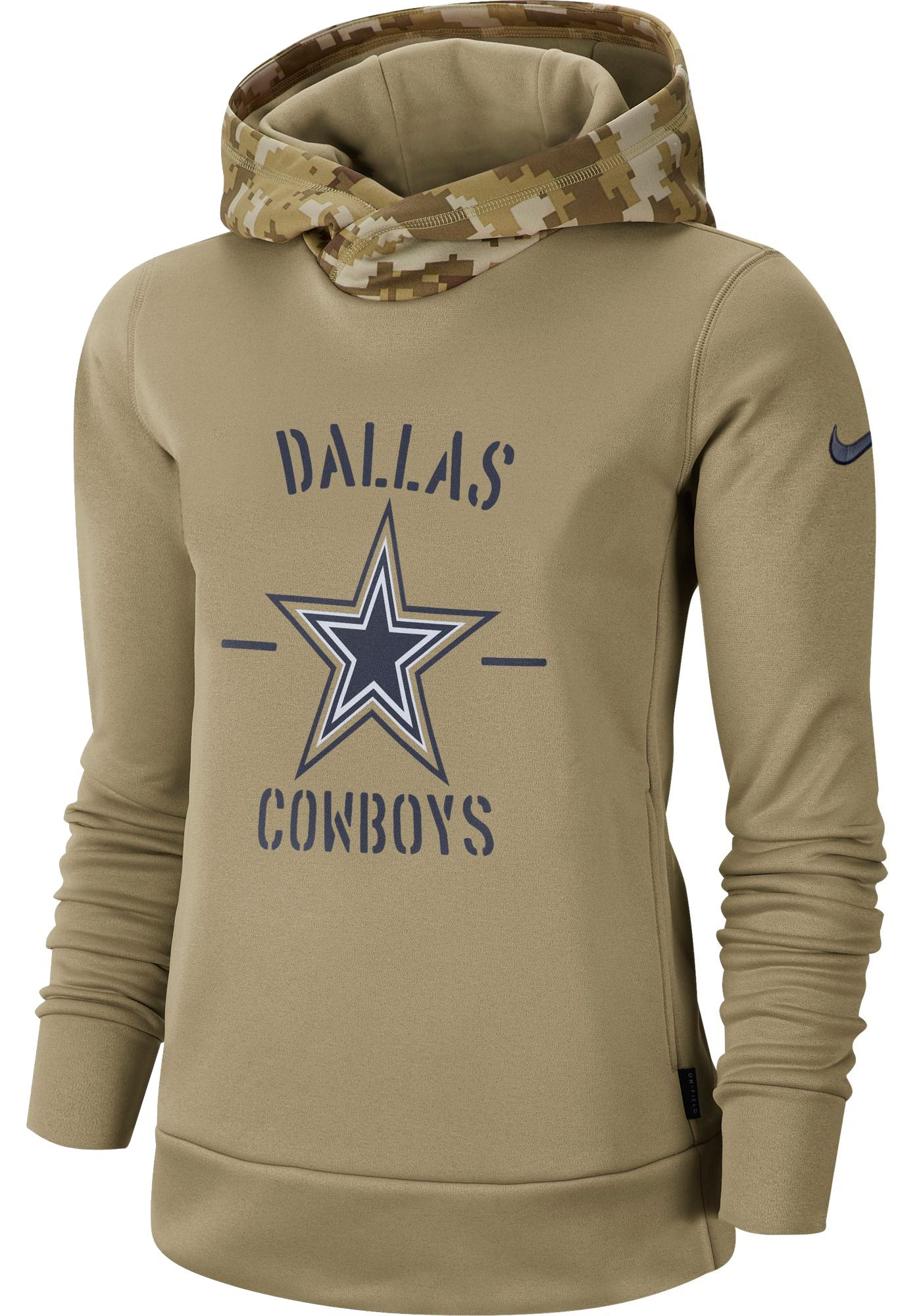 Nike Women's Salute to Service Dallas Cowboys Therma-FIT Beige Camo Hoodie