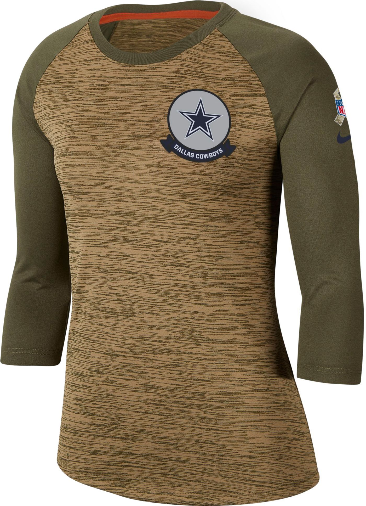 Nike Women's Salute to Service Dallas Cowboys Dri-FIT Beige Raglan Shirt