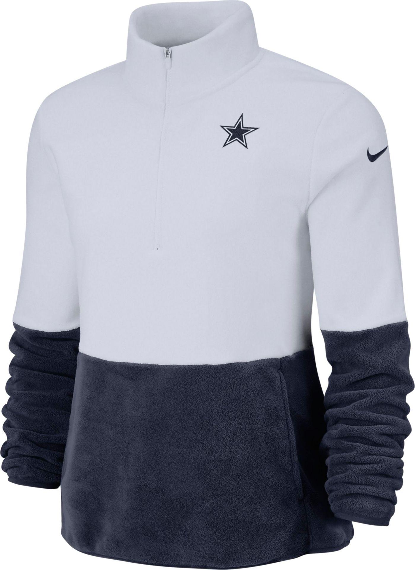 Nike Women's Dallas Cowboys Therma-FIT Fleece Half-Zip Pullover