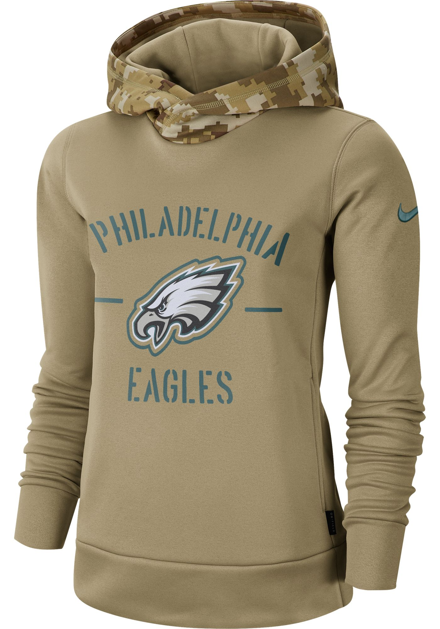 Nike Women's Salute to Service Philadelphia Eagles Therma-FIT Beige Camo Hoodie