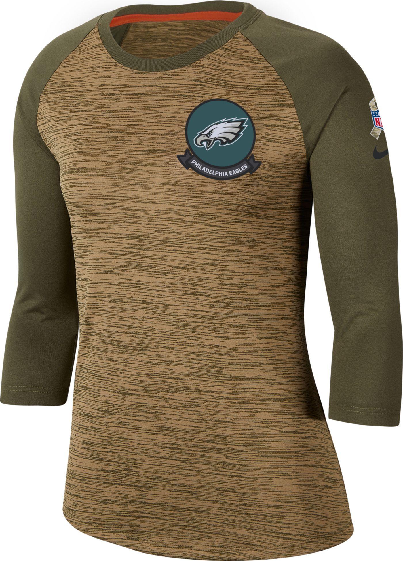 Nike Women's Salute to Service Philadelphia Eagles Dri-FIT Beige Raglan Shirt