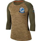 Nike Women's Salute to Service Detroit Lions Dri-FIT Beige Raglan Shirt