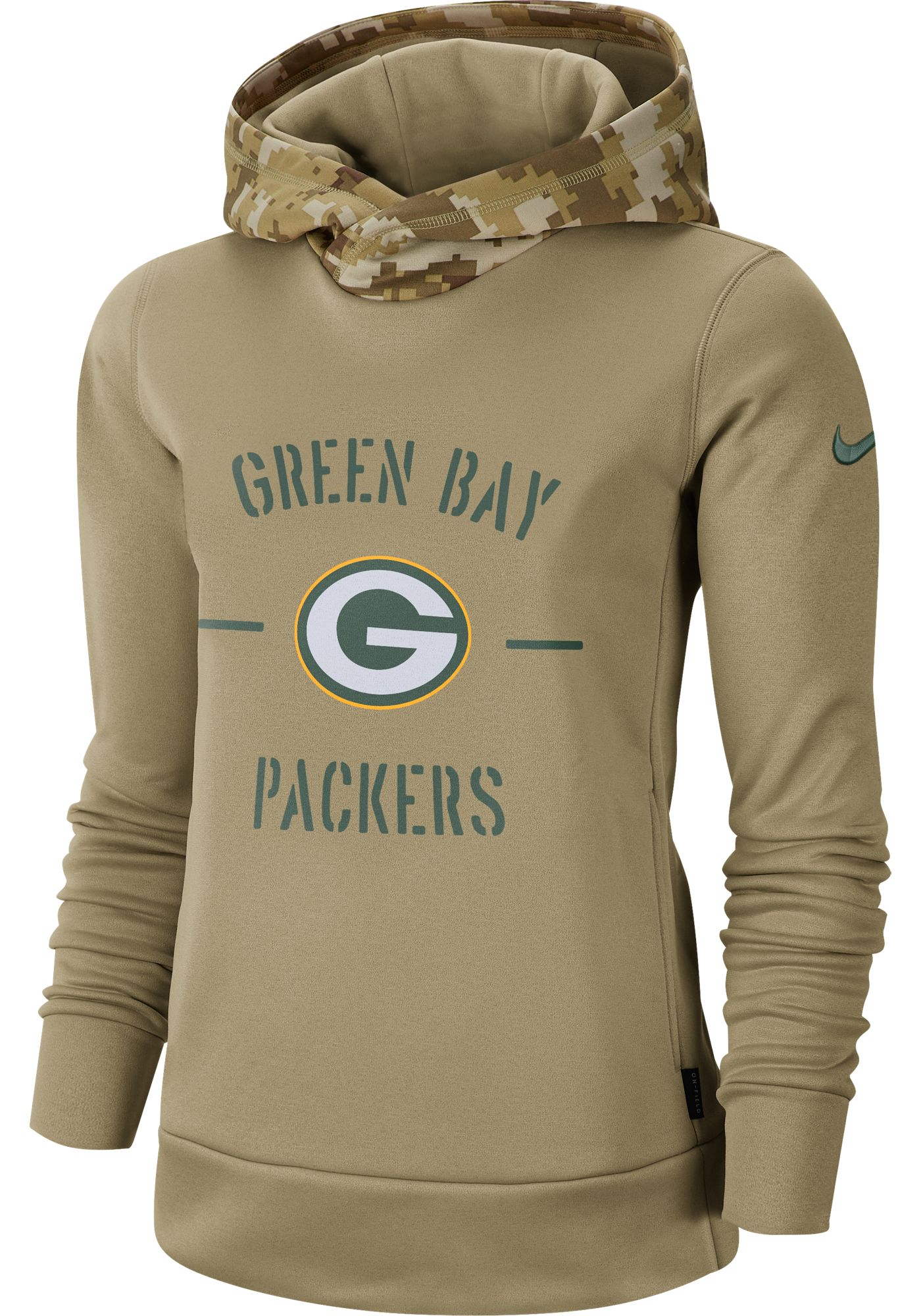 Nike Women's Salute to Service Green Bay Packers Therma-FIT Beige Camo Hoodie