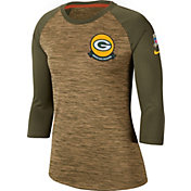 Nike Women's Salute to Service Green Bay Packers Dri-FIT Beige Raglan Shirt