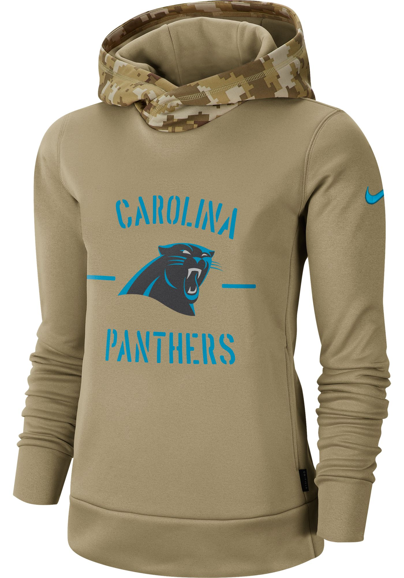 Nike Women's Salute to Service Carolina Panthers Therma-FIT Beige Camo Hoodie