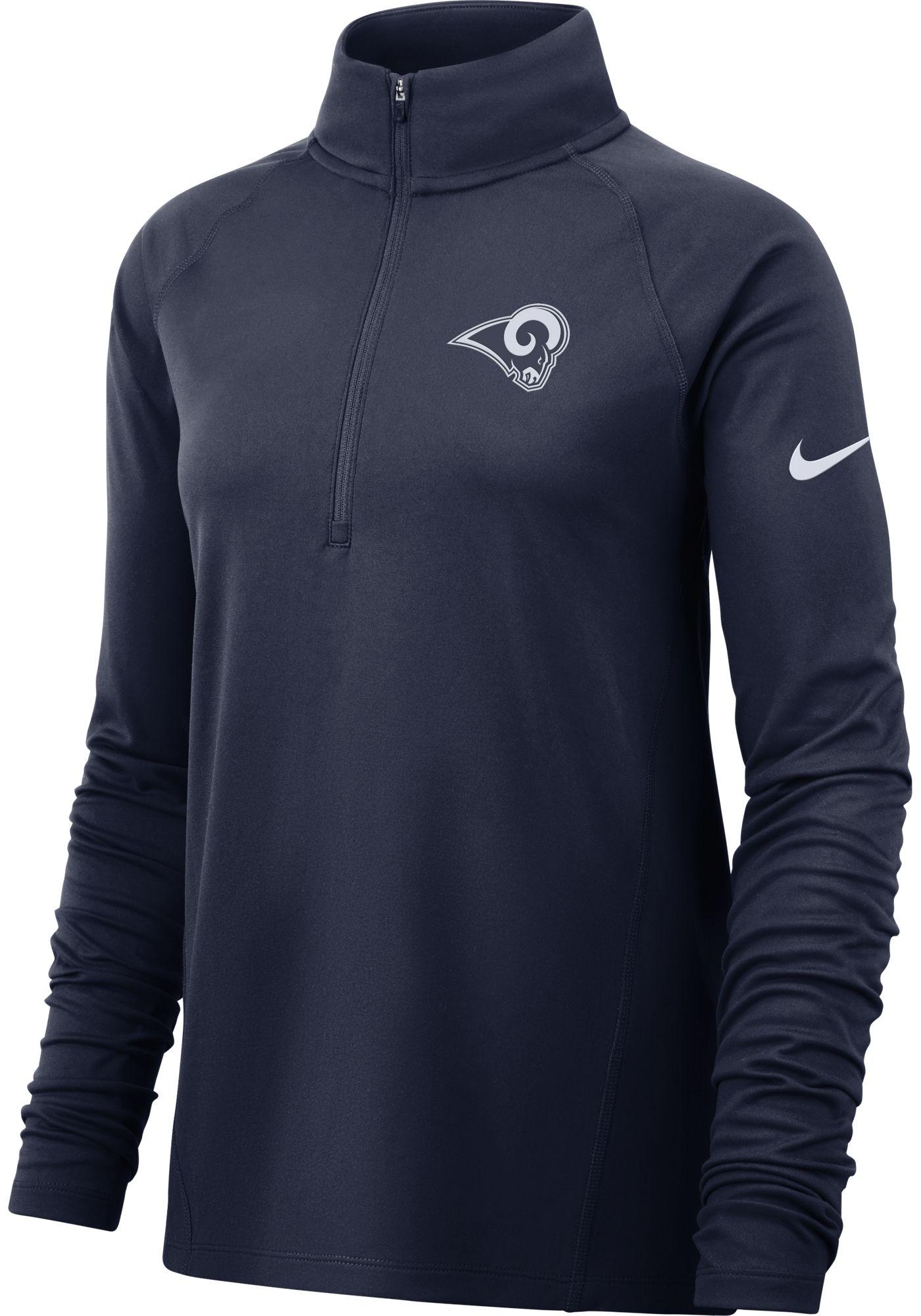 Nike Women's Los Angeles Rams Core Navy Half-Zip Performance Pullover