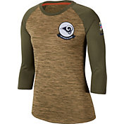 Nike Women's Salute to Service Los Angeles Rams Dri-FIT Beige Raglan Shirt