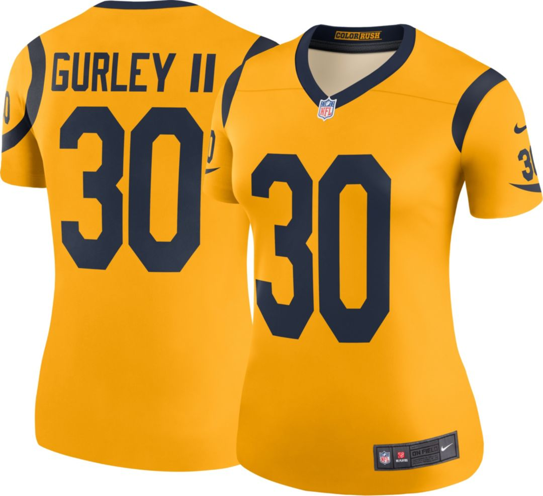 new arrivals b02f0 0883f Nike Women's Color Rush Legend Gold Jersey Los Angeles Rams Todd Gurley #30