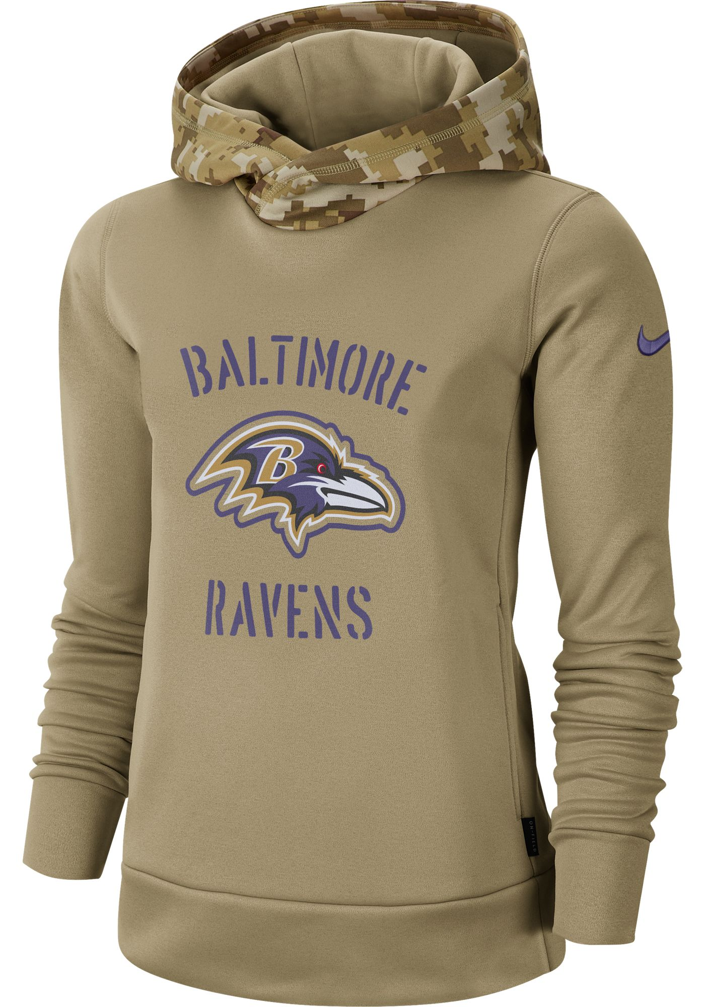 Nike Women's Salute to Service Baltimore Ravens Therma-FIT Beige Camo Hoodie