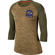 Nike Women's Salute to Service Baltimore Ravens Dri-FIT Beige Raglan Shirt