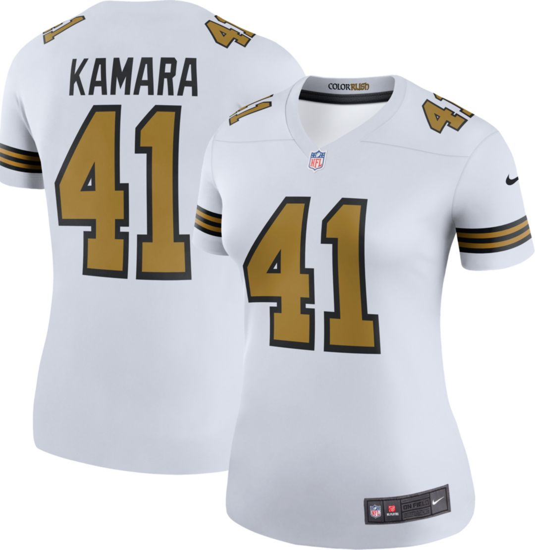 premium selection 9d8c7 a7f37 Nike Women's Color Rush Legend White Jersey New Orleans Saints Alvin Kamara  #41