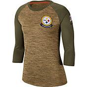 Nike Women's Salute to Service Pittsburgh Steelers Dri-FIT Beige Raglan Shirt