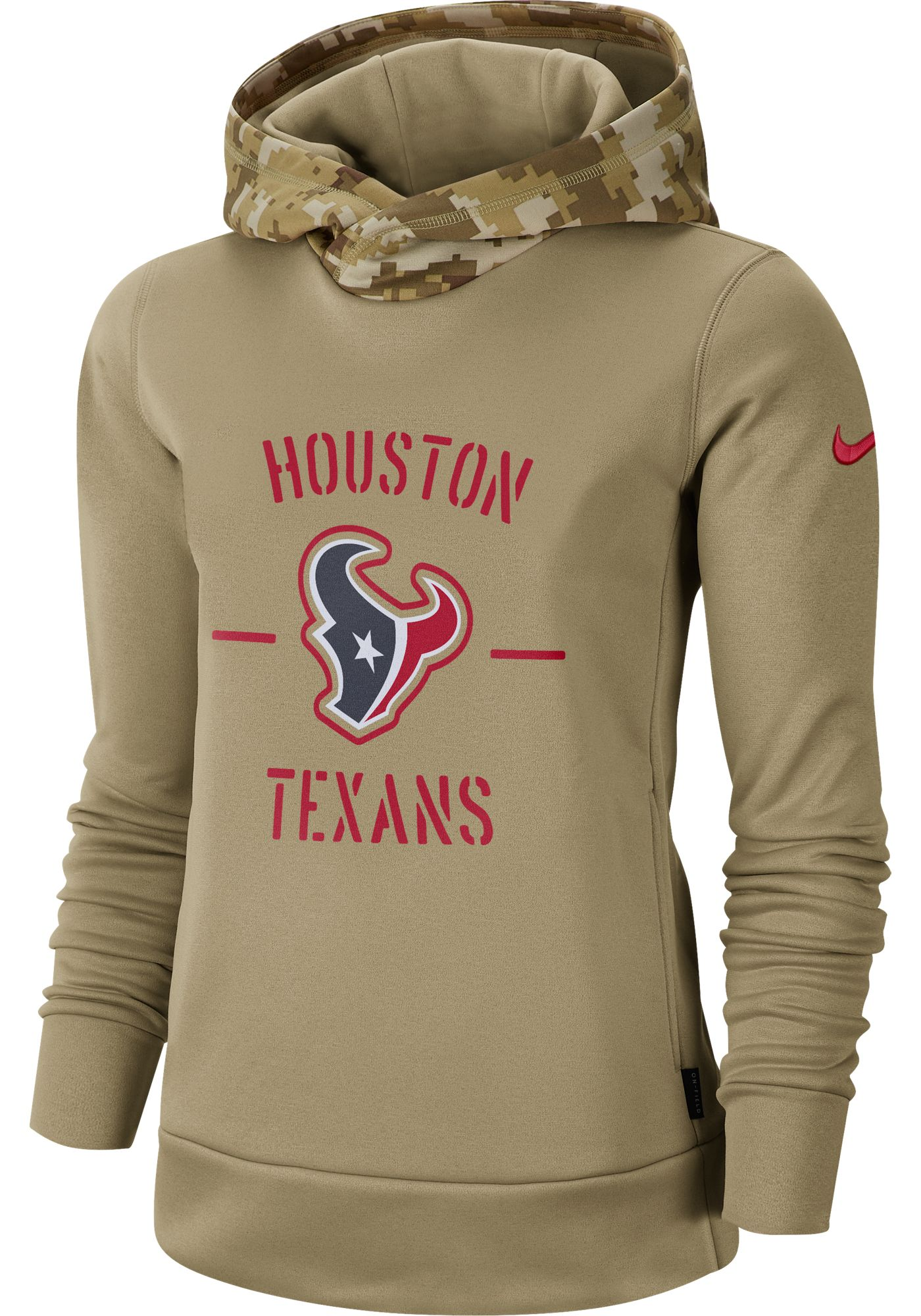 Nike Women's Salute to Service Houston Texans Therma-FIT Beige Camo Hoodie