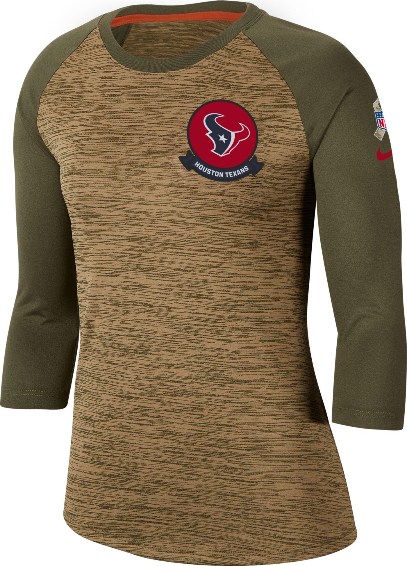 Nike Women's Salute to Service Houston Texans Dri-FIT Beige Raglan Shirt
