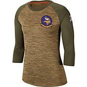 Nike Women's Salute to Service Minnesota Vikings Dri-FIT Beige Raglan Shirt