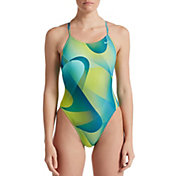 Nike Women's Spectrum Lace Up Tie Back One Piece Swimsuit