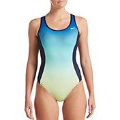 Nike Women's Texture Stripe Keyhole Back One Piece Swimsuit