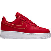 Nike Women's Air Force 1 '07 Essential Shoes in Gym Red/Metallic Gold