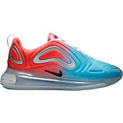 Nike Women's Air Max 720 Shoes in Lava Glow/Black/Blue Fury