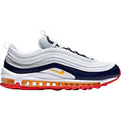 Nike Women's Air Max 97 Shoes in Orange/Navy/White