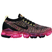 Nike Women's Air VaporMax Flyknit 3 Shoes in Black/Pink/Yellow