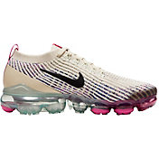 Nike Women's Air VaporMax Flyknit 3 Shoes in Fossil/Fire Pnk/Hyp Crmsn