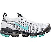 Nike Women's Air VaporMax Flyknit 3 Shoes in White/Aurora Green/Black