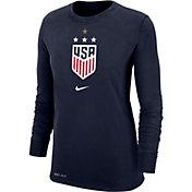 Nike Women's USA Soccer 4-Star Crest Navy Long Sleeve Shirt