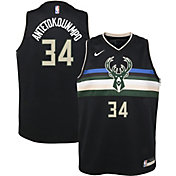 Nike Youth Milwaukee Bucks Giannis Antetokounmpo #34 Black Dri-FIT Statement Swingman Jersey